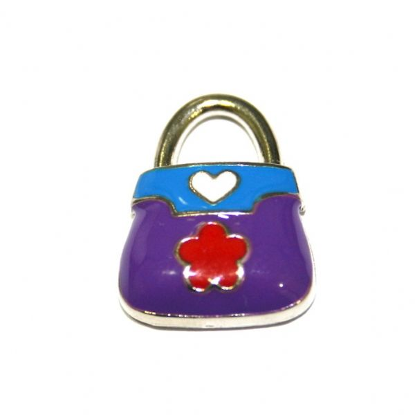 1 x 20*14mm rhodium plated purple handbag with little daisy enamel charm - SD03 - CHE1263